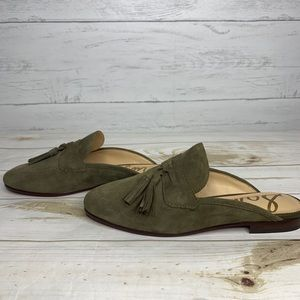 Sam Edelman Paris Suede Mule Slip-on Loafers Green